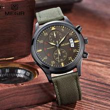MEGIR casual waterproof stop watch for male 2015 fashion canvas quartz watches men calendar wrist watch man free shipping 2021