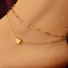 2 pcs New Fashion jewelry Chain Sexy Gold Plated Tone Love Heart Foot Jewelry Heart Anklets for Women Girl(China (Mainland))