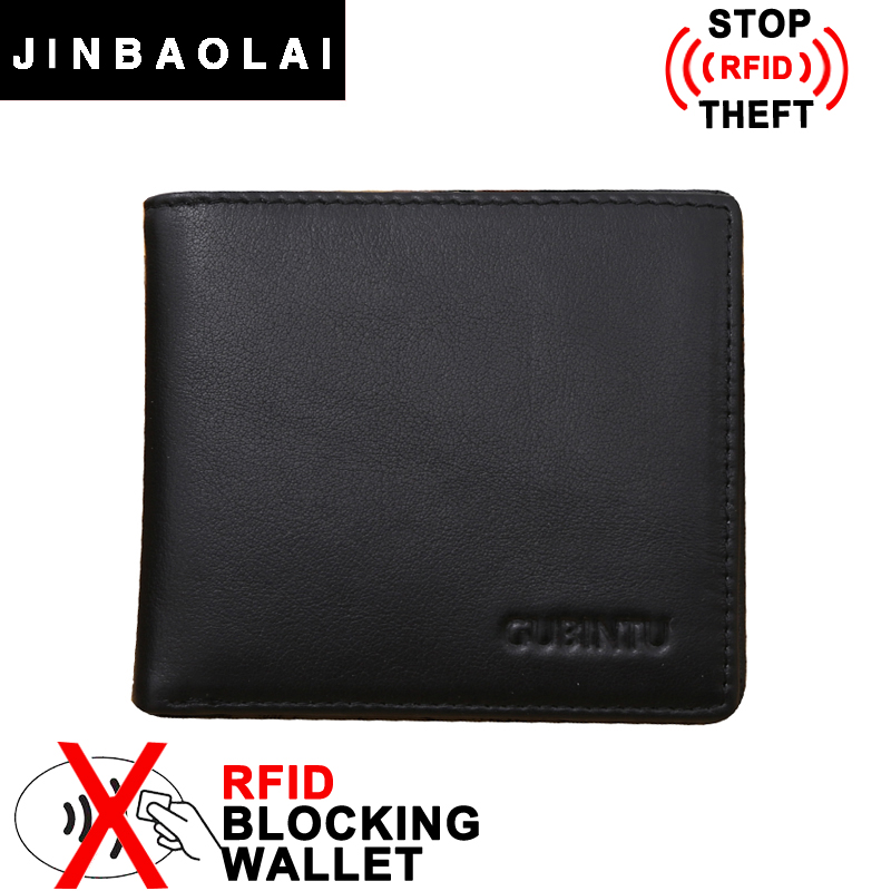New RFID Wallet Famous Brand Genuine Leather Wallet European and American Style Stop RFID Protection Purse Men Wallets carteras(China (Mainland))