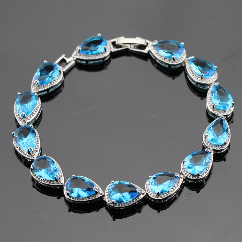 Charming drop turquoise topaz jewelry sterling silver link for Drop shipping jewelry business