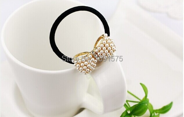 Mini order $1 Free Shipping, New Sweet Hair Accessories White Pearl Rhinestone Small Bow Knot Girls Woman Hairbands CJWD03(China (Mainland))