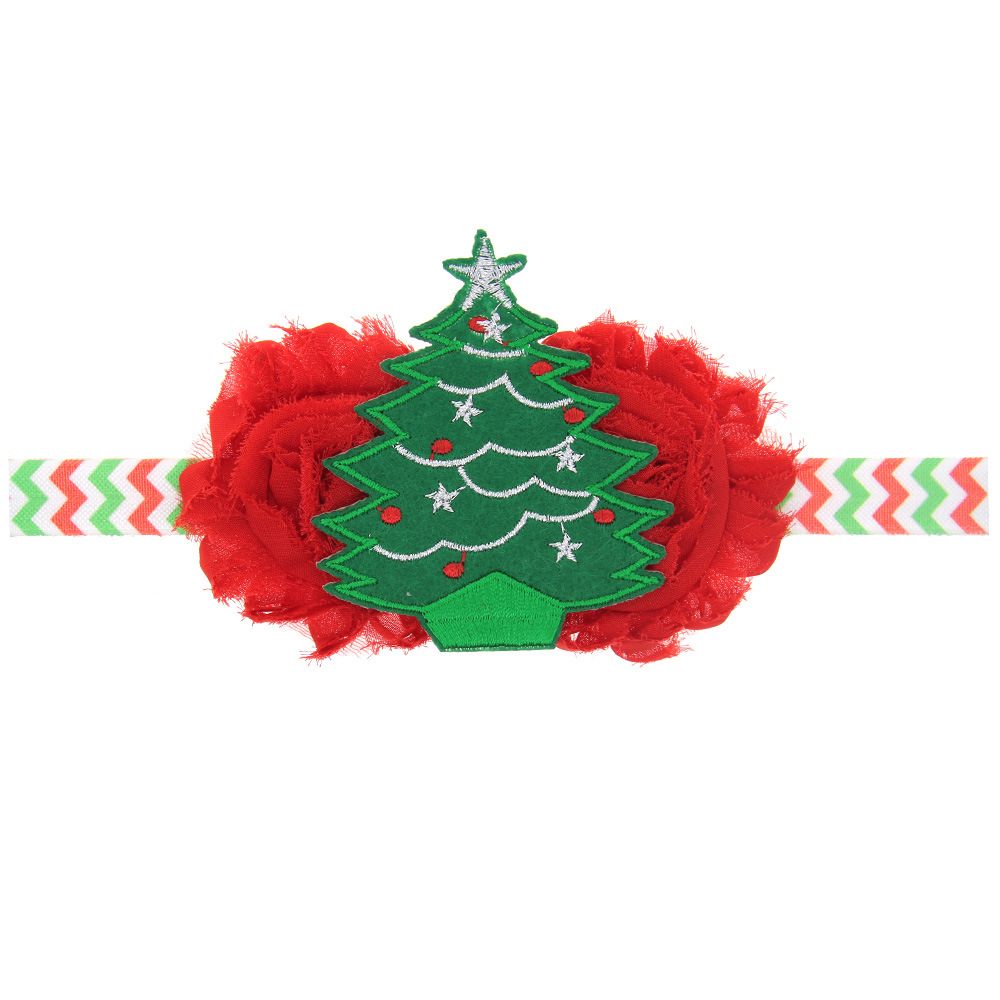 Children with foreign Christmas flower embroidery handmade Christmas tree ornaments elastic headband baby head jewelry counter(China (Mainland))
