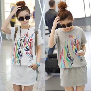 2014 plus size clothing loose casual sportswear zebra print hip slim one-piece dress(China (Mainland))