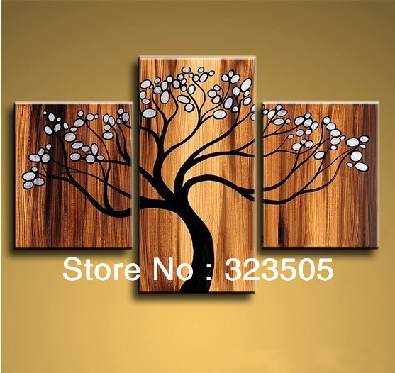 3 piece canvas wall art modern abstract tree of life. Black Bedroom Furniture Sets. Home Design Ideas