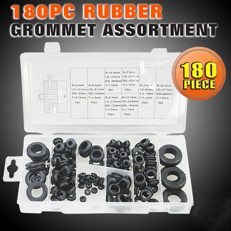 180pcs/case Multi Size Rubber Grommet Assortment Fastener Kit Black Circle Eyelets And Grommets HW143<br><br>Aliexpress