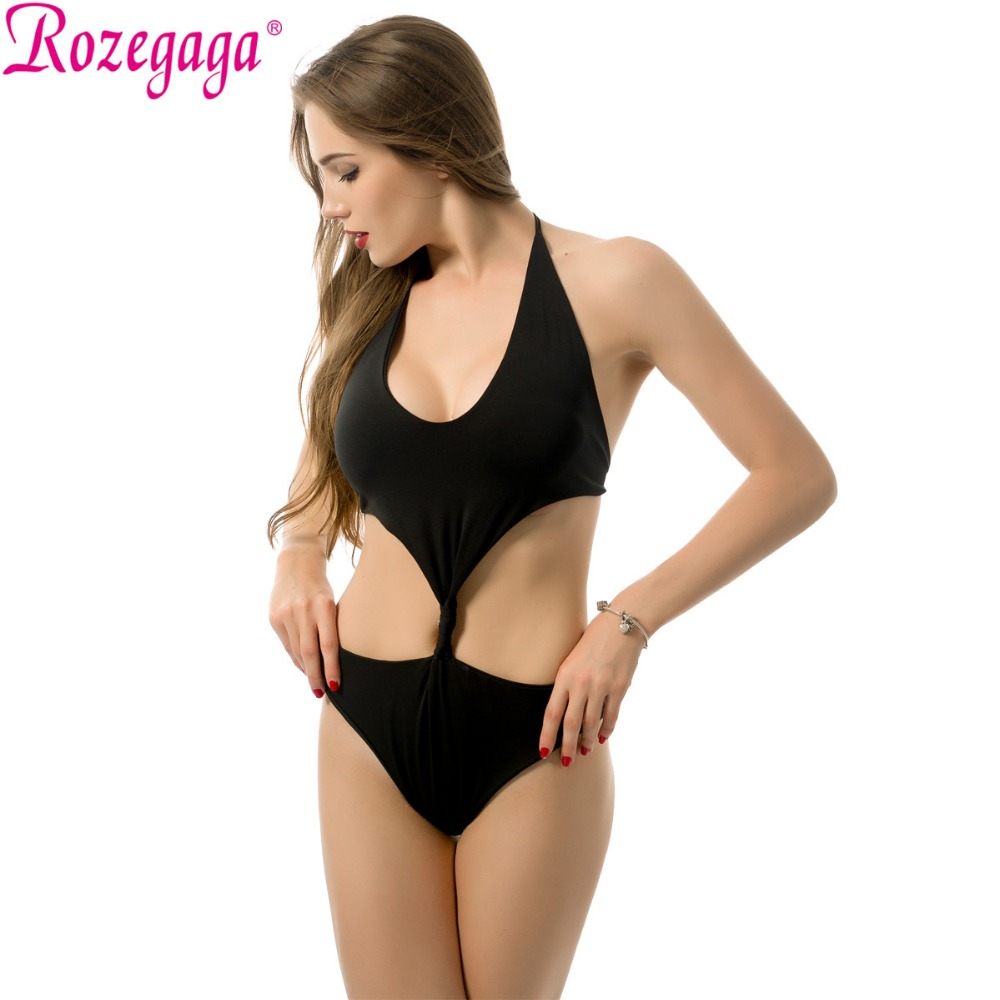 Rozegaga Black Swim Set Underwear Sexy One Piece Swimsuit