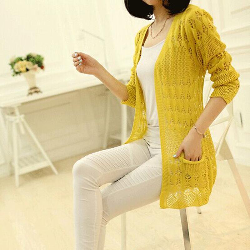 2015 spring and autumn women sweater medium-long cutout sweater thin cardigan outerwear(China (Mainland))