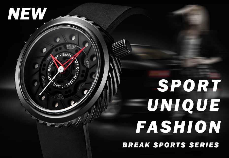 BREAK Top Luxury Men Racing Motorcyle Sport Watches Rubber Strap Casual Fashion Passion Waterproof Geek Creative Gift Wristwatch