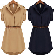 With Belt! 2015 Women Summer Dress Shirt V-Neck Short A-Line Solid Plus Size Chiffon Casual Vestidos For Party Beach Office 8463(China (Mainland))
