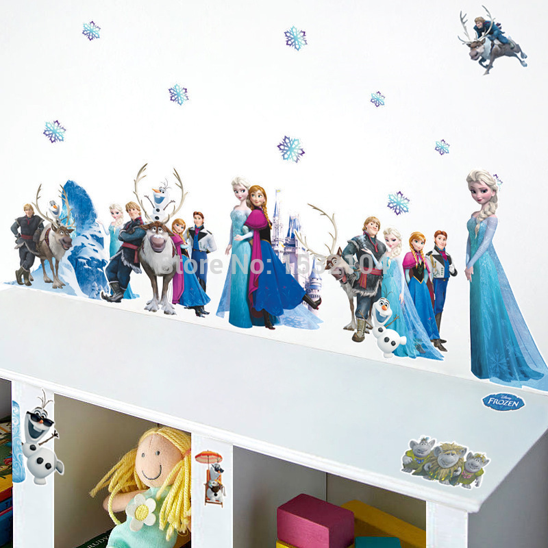 Free shipping! New Design Movie Princess Elsa Anna Wall Stickers Decals Removable Decor Home Kids Mural Christmas Wall Sticker(China (Mainland))