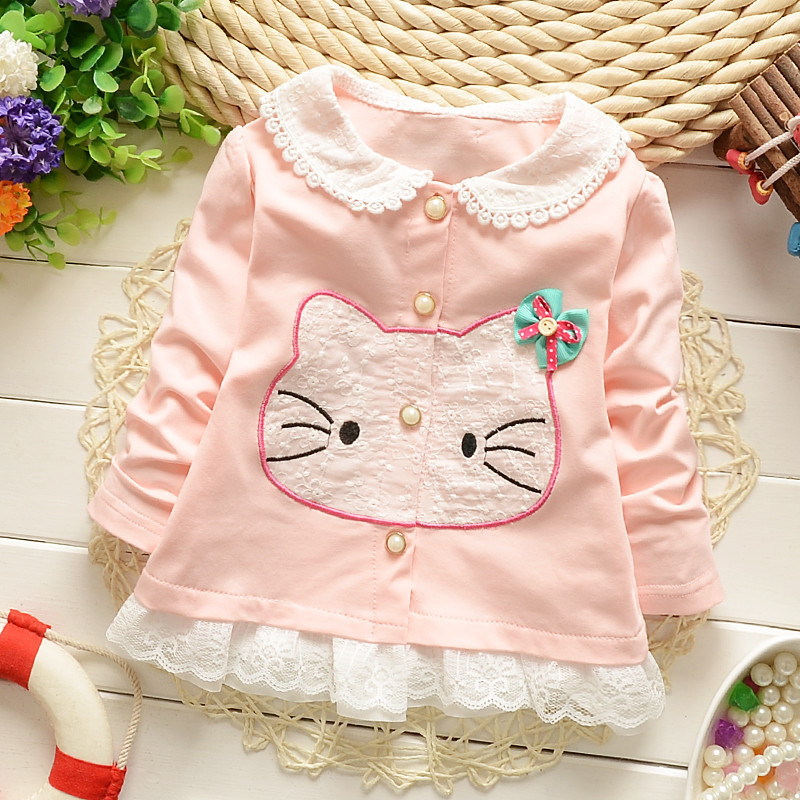 New 2015 Children's Clothing Hello Kitty Girls Outerwear Kids Fall Clothes Button Baby Girl Cardigan 1418(China (Mainland))