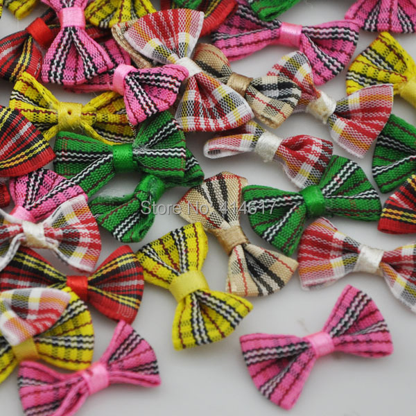 60pcs font b tartan b font plaid Gingham Ribbon Bows Flower Appliques Lots Upick A234