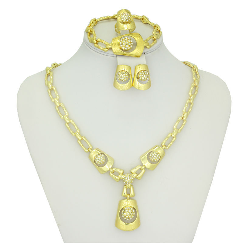 2016 New Fashion 18k Gold Plated Wedding Jewelry Sets Dubai Women Dance party costume Jewelry Gold necklaces bracelets earrings(China (Mainland))