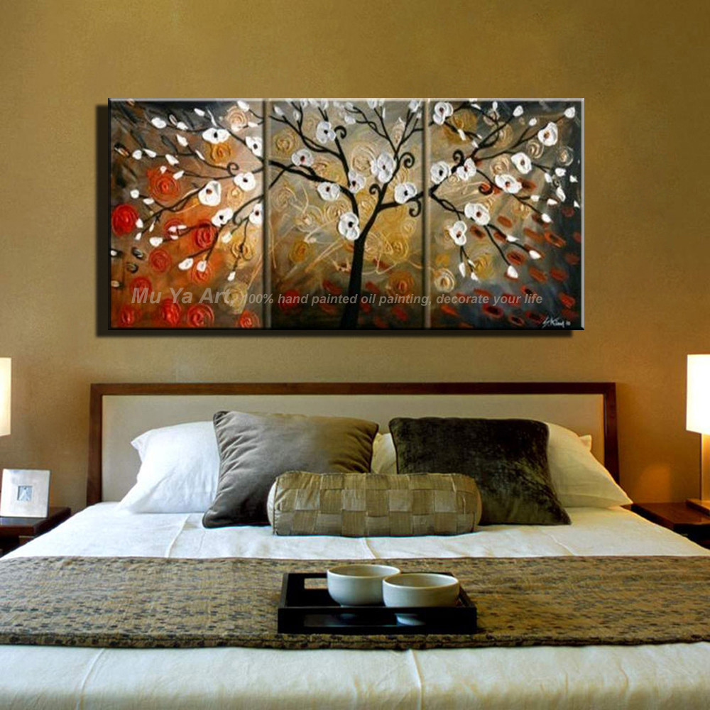 Buy Abstract red decorative cherry tree handmade 3 piece canvas wall art knife oil paintings canvas picture for living room flower cheap