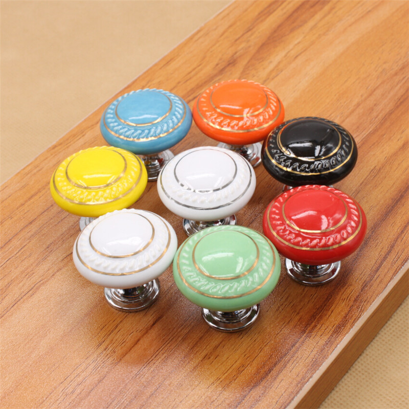 Ceramic Round Cabinet Knobs Cupboard Drawer Wardrobe Pulls Handle Knob Single hole Candy Colors<br><br>Aliexpress