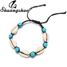 Shuangshuo Muscheln Halskette Natürlichen Muschel Halsketten Anhänger Für Frauen collier coquillage Böhmischen Strand Shell Schmuck(China)