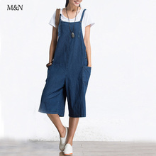 Retro Women Capris Loose Large Size Female Jumpsuit Denim Pants Big Pocket Blue Jeans Casual Fashion Trousers Pants(China (Mainland))