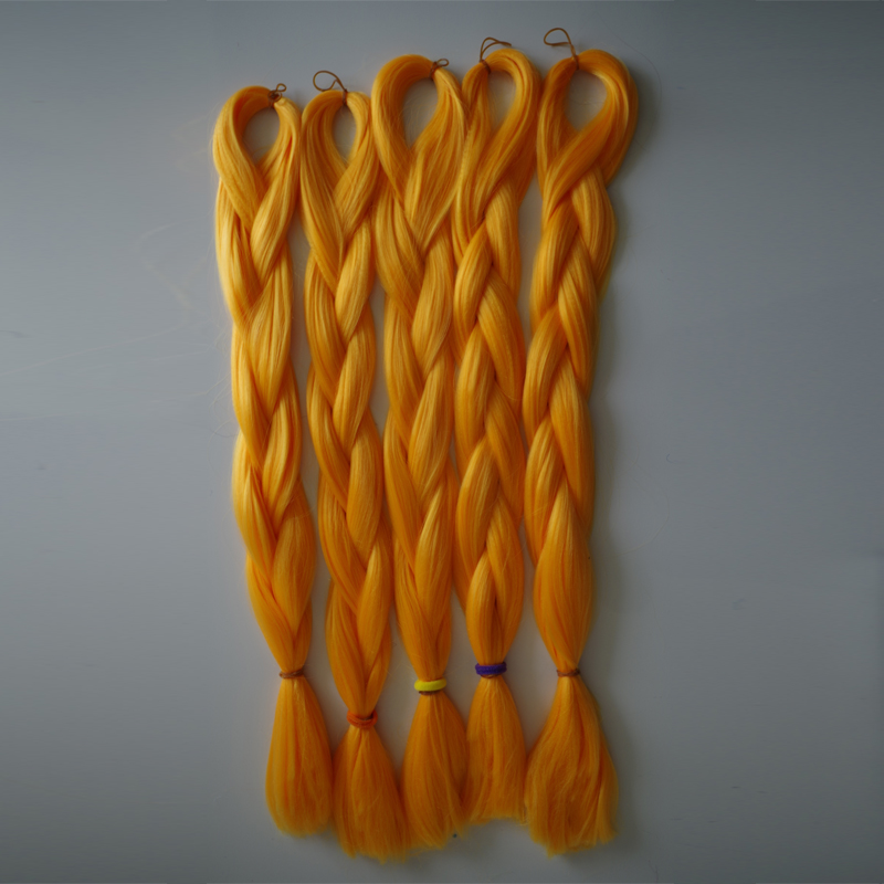 (5pcs/lot Free Shipping!!!)Ombre kanekalon jumbo braiding hair 24''1pc100g synthetic orange high temperature fiber jumbo braid