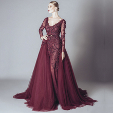 fashion burgundy evening dress 2017 new v neck long sleeves beaded appliques lace women formal gown for prom party vestido festa(China (Mainland))