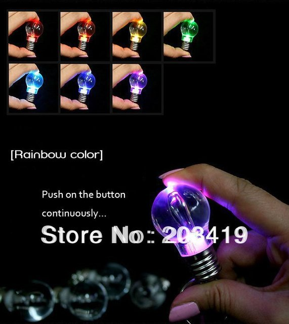mini color change LED light bulb torch keyring keychain key ring key chain accessory trimmings  wholesale retail