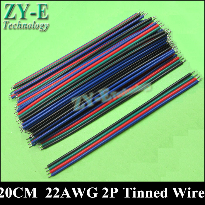 20PCS/lot 20cm 4pins wire cable Red black wire AGW22 thinned copper wire for single color strip light LED wire Free shipping<br><br>Aliexpress