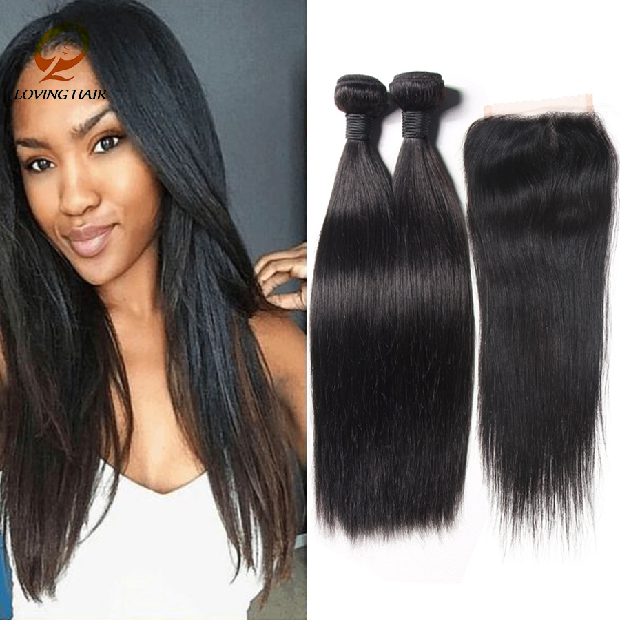 unprocessed virgin straight hair with closure 8a hair bundles with lace closures peruvian straight virgin hair with closure<br><br>Aliexpress