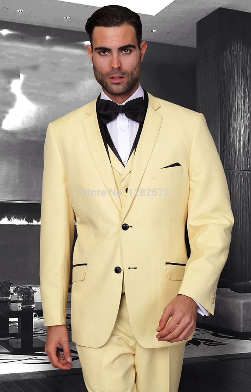New Arrival Two Buttons Groom Tuxedos Groomsmen Men's Wedding Prom Suits Custom Made (Jacket+Pants+Vest+Tie) K:195