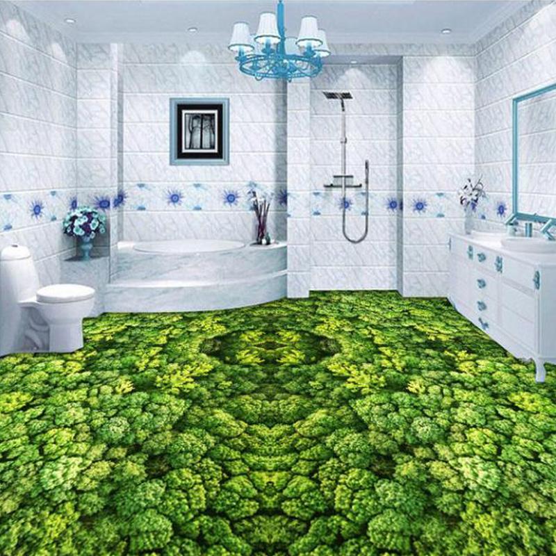 Custom 3D Grassland Wetland Plants Bathroom Floor Mural Painting Wall Art Self-adhesive Waterproof Vinyl 3D Designed Wallpaper(China (Mainland))
