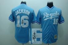Free Shipping Signature Edition Mens Kansas City Royals Jersey#16 Bo Jackson Blue Baseball Jersey Accept Mixed Orders1598(China (Mainland))