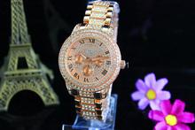 2015 nuevos Kors de moda mujeres del reloj dorado aleación del cuarzo de lujo marca de relojes digitales hombres mujer hombre calendario reloj de pulsera de diamantes D01