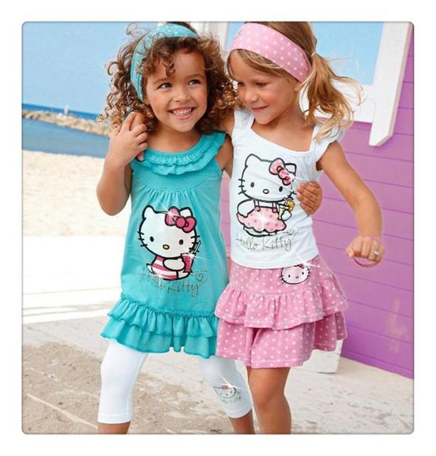 Baby Girls Summer Hello Kitty Suits Kids Sets headband+Dress+Pants Children Clothing 3pcs Set  retail C8
