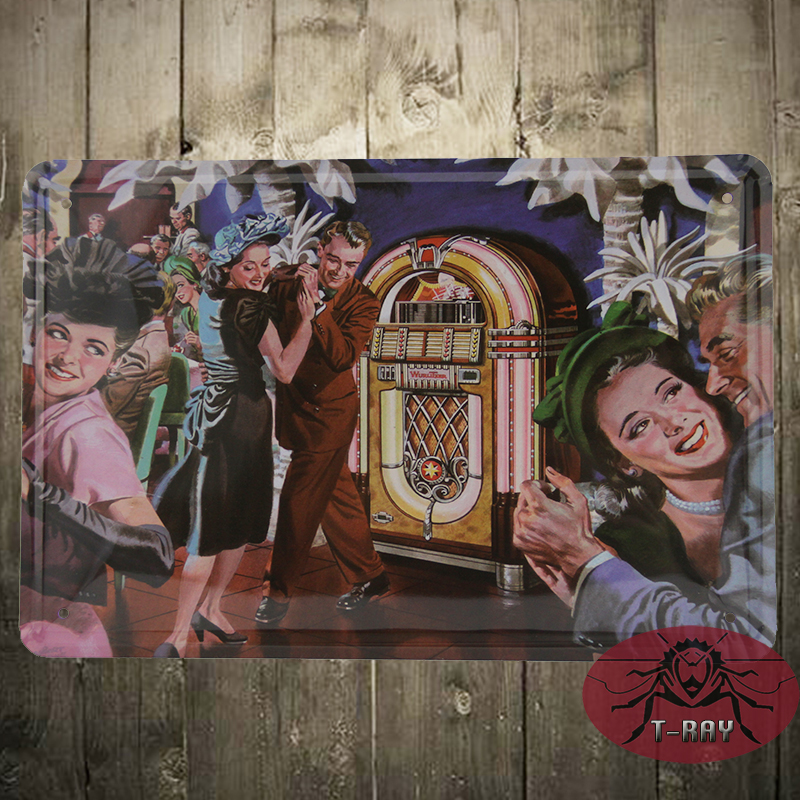 Dancing party painting Tin plate Sign pub home Wall Decor Retro Metal Art Poster K-09