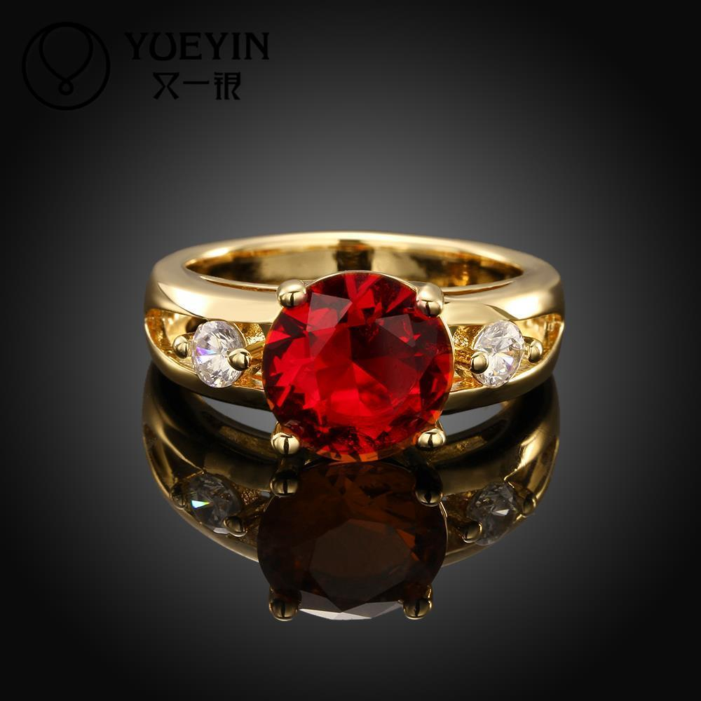 Vintage Jewelry Engagement Rings For Women Newest Beaded Rings Wedding Crystal Ruby Jewelry 18k Gold Plated