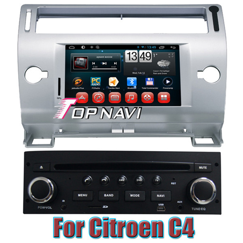 Top Gift Free Shipping Capacitive Screen Quad Core Android 4.4 Car Navigation For Citroen C4 With Radio USB Free Map BT(China (Mainland))