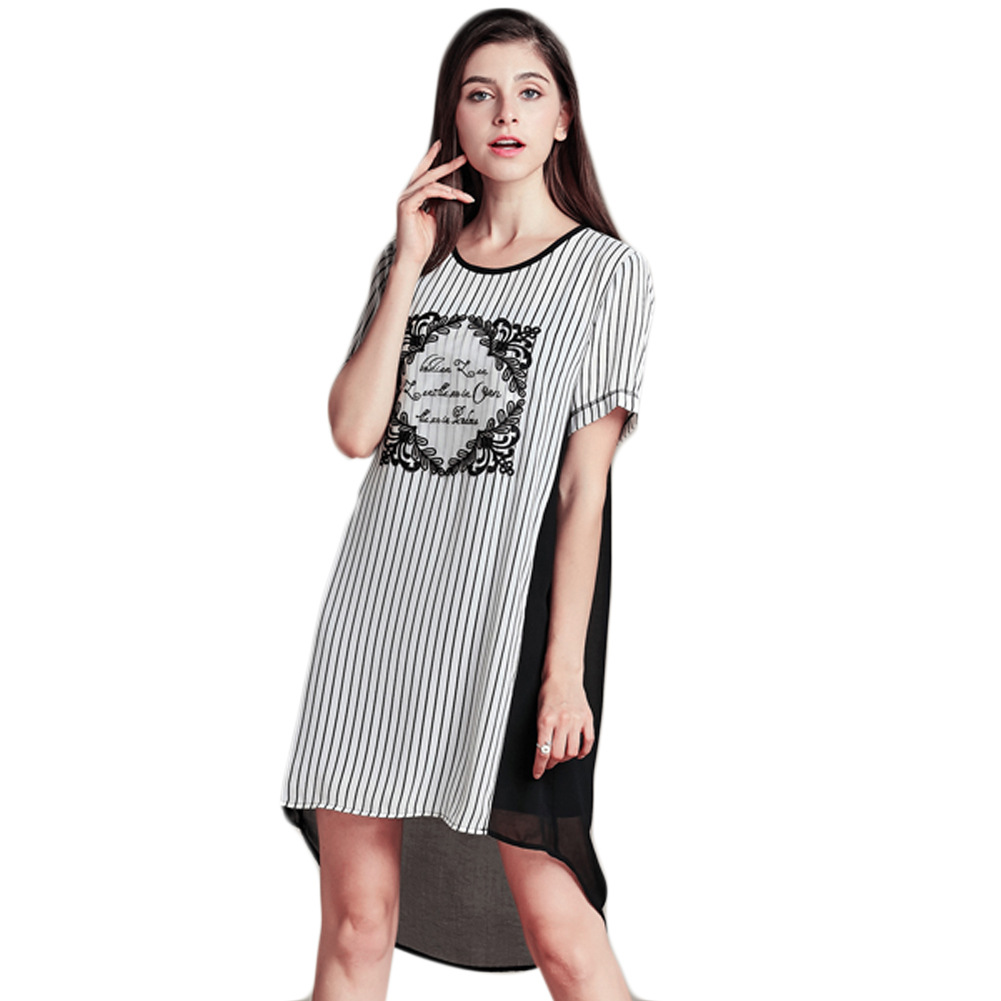 2015 Summer New Fashion Women Dress Striped Pattern Lace Spell Short Sleeve O Neck Casual Women