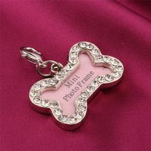 S Tamaño de Acero Inoxidable los Mascotas ID Tags Personalizada Hueso En Forma de Etiqueta de Perro de Color Rosa(Hong Kong)