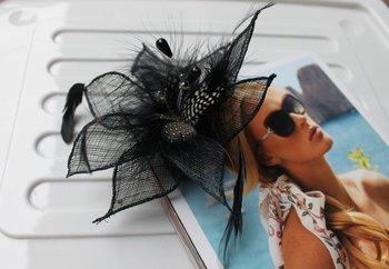 Hot Selling Customized Black Sinamay Fascinator Millinery Hat#9 color