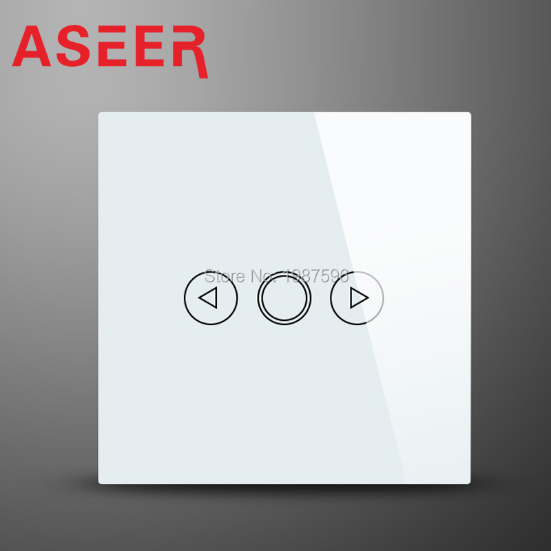 ASEER,EU Standard 1 Gang 1 way LED Touch Dimmer Switch,White Crystal Glass Panel Light Wall Switch Dimmer Smart Home Hi-ED01W(Hong Kong)