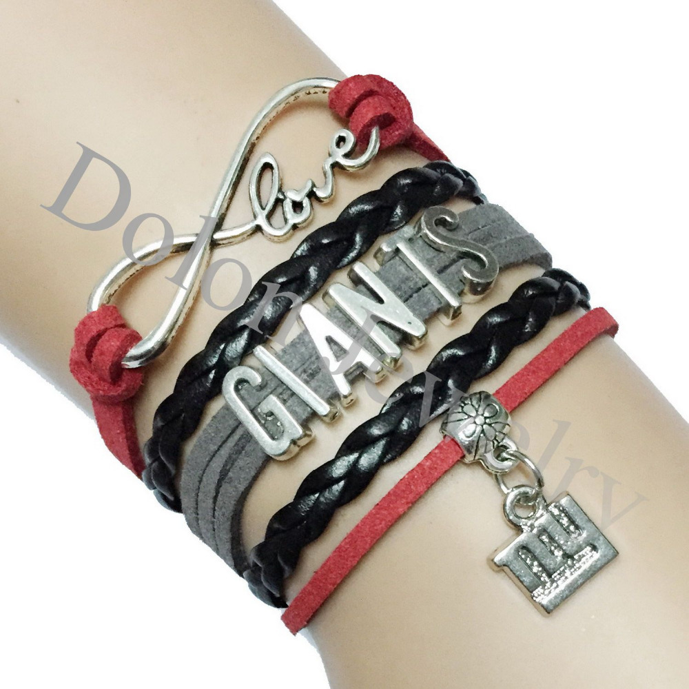 Customized Red grey Black Suede Leather Infinity Love New York Giants American NFL Football Team Name Bracelet Gift for College(China (Mainland))