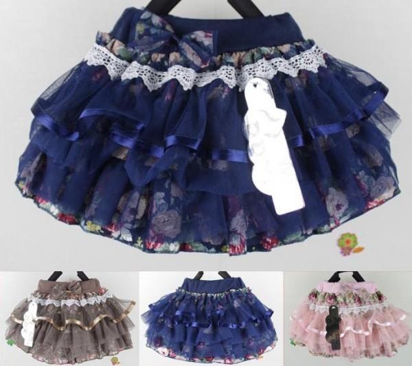 Girls 2-6 Tulle Floral Print Short Skirt Multi-layers lacy Flower Tutu Dancing Skort Princess Child Netting Skirt Free shipping<br><br>Aliexpress