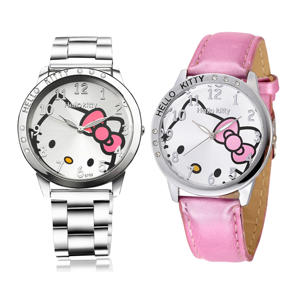 Stainless Steel Cute Watch Children Watch Hello Kitty Cartoon Watch Gifts Watch Korean Tide Time For Lady Girls Women(China (Mainland))