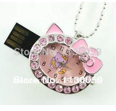 100% real capacity necklace cat watch USB Flash 2.0 Memory Drive Sticks Pen Disk 4GB 8GB 16GB 32GB(China (Mainland))