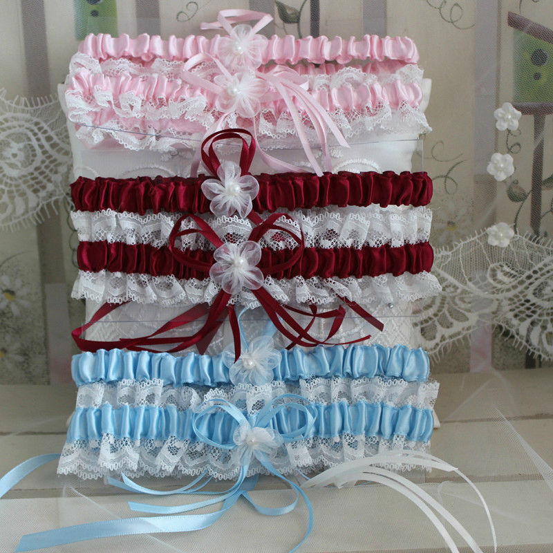 Free Shipping Red /Blue /Pink / white  Women's Sexy Lingerie Garter Lace Belt Legs Ring Harness Women Wedding Garters bridal