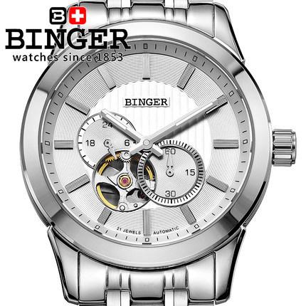 Binger Luxury Auto Mechanical Watches 4 Hands 24 Hours Display Tourbillon Mens Original Wrist Watch Free Ship Gift Box(China (Mainland))