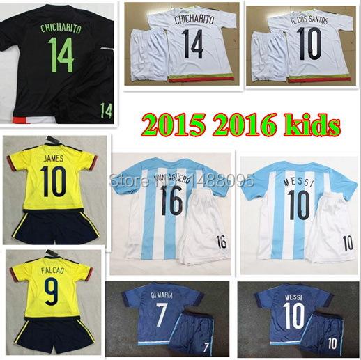Colombia Mexico Kids Jersey 15 16 Soccer Jersey Children Set 2015 2016 james Kids Kits KUN AGUERO boys Youth football Uniforms(China (Mainland))