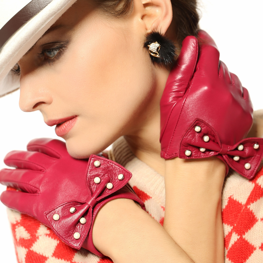 Sale Top Fashion Adult Women Glove Real Solid Genuine Leather Wrist Bowknot Sheepskin Gloves Winter Driving Free Shipping 2016(China (Mainland))