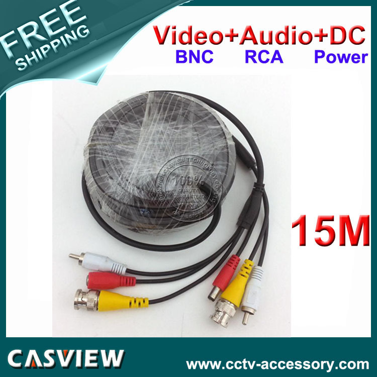 Free shipping 1PCS 15M 50FT wire BNC Video DC Power RCA Audio All in one CCTV Surveillance DVR Security Extension Cable(China (Mainland))