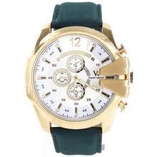 2015 hombre militar relojes V6 de cuarzo de tres ojos Dial grande ocasional hombres correa de cuero reloj de pulsera negro verde marrón azul