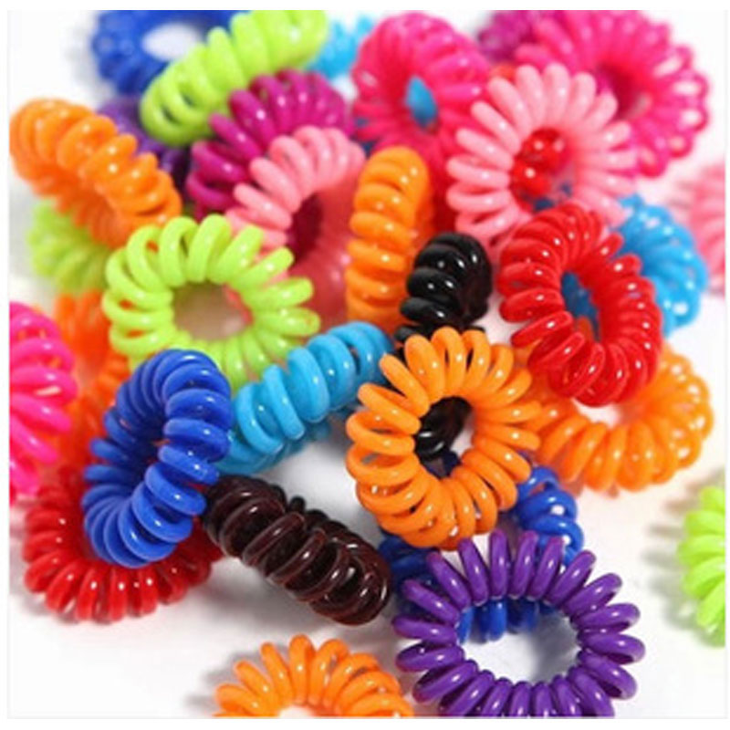 30pcs/lot Telephone Wire Line Cord Invisible Traceless Hair Ring Gum Colored Elastic Hair Braid For Girl Hair Hairdressing Tools(China (Mainland))