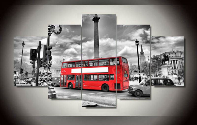 Painting By Numbers 5 Panels British Bus Landscape Hd Canvas Print Painting Modern Home Wall Decor Art Picture Paint On F/1117(China (Mainland))